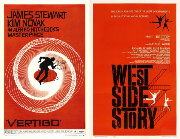 Affiche du film Vertigo (1958) et de West Side Story (1961), réalisées par Saul Bass.